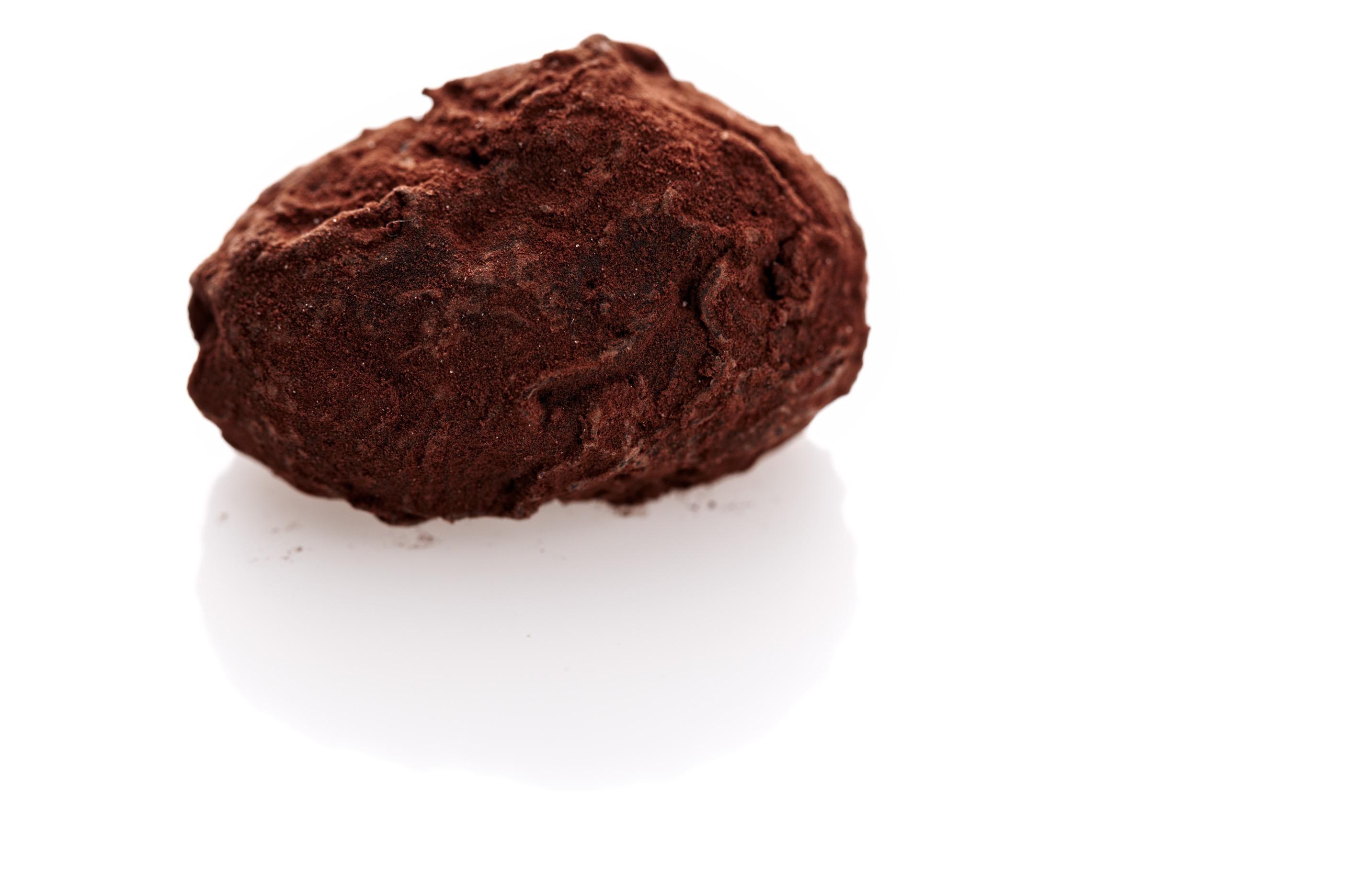 handgerolltes trüffel-ei mit champagnergeschmack in Kakao gerollt