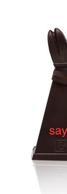 halb abgeschnittener bischof in edelbitter schokolade 75 % mit rotem schriftzug say